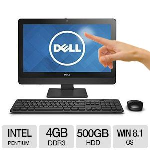 Dell Inspiron 20'' Touchscreen All-In-One PC - Intel Pentium G3220T 2.6 GHz, 4GB DDR3, 500GB HDD, DVDRW, Windows 8.1 64-bit - I3048-4285BLK