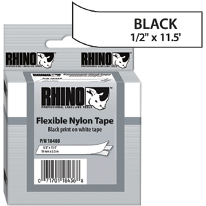 Dymo White Rhinopro 1/2&quot; Flexible Nylon Labels