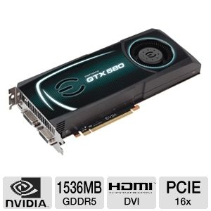 EVGA GeForce GTX 580 Fermi 1536MB GDDR5 SLI Ready