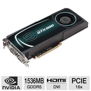 EVGA GeForce GTX 580 Fermi SuperClocked 1536MB  