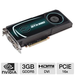 EVGA GeForce GTX 580 3GB GDDR5 PCIe SLI Ready
