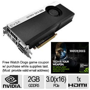 EVGA GeForce GTX 680 4GB GDDR5 Video Card