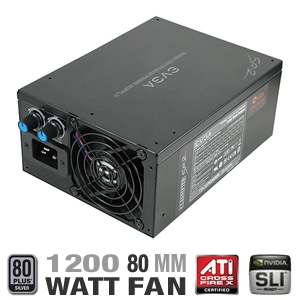 EVGA Classified SR-2 1200 Watt Power Supply-ATX, Hybrid, 1200 Watt, 80 PLUS Silver Certified, SLI Ready, CrossFire Certified, Ultra-Quiet 80mm Fan