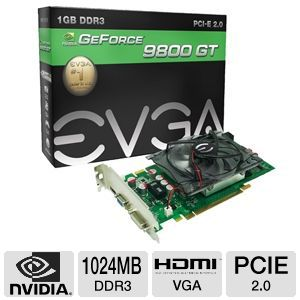 EVGA GeForce 9800 GT 1GB DDR3, HDMI, VGA & DVI
