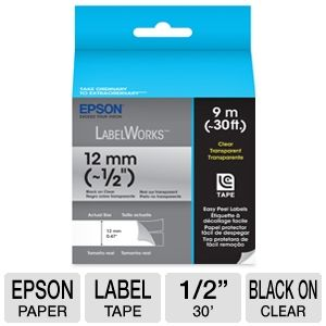 "Epson LabelWorks Clear LC 1/2""Black Tape Cartridge"