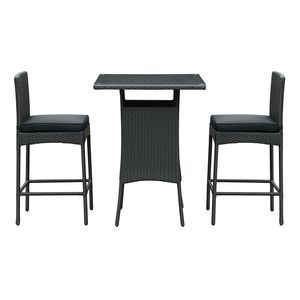 Cerveza 3 Piece Pub Set in Black Black