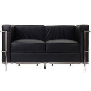 LC2 Leather Loveseat in Black