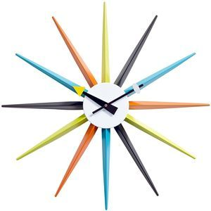 Sunburst Wall Clock in White Black Yellow Blue Gre