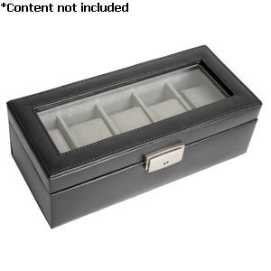 5 Slot Leather Watch Box - 928-BLACK-6