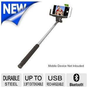 ReTrak Selfie Stick with Rechargeable Lithium battery