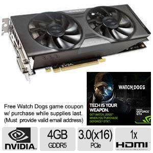 EVGA GeForce GTX 760 4GB GDDR5 Video Card