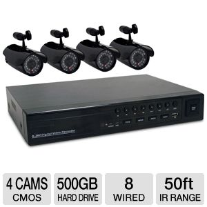 First Alert 8 Channel 4 Camera Security Kit 500GB