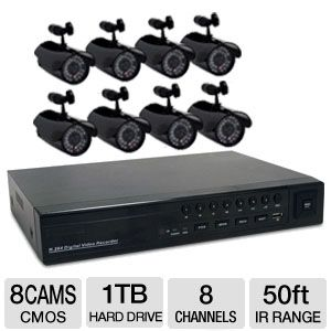 First Alert 420TVL 8-Camera Security Kit 1T REFURB