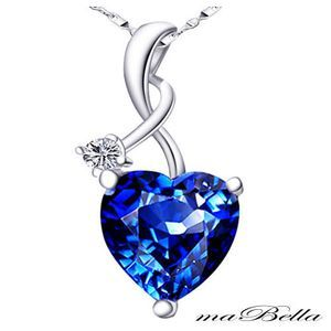 Mabella Heart Shaped Created Blue Sapphire Pendant