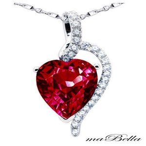 Mabella Heart Shaped Created Ruby Pendant