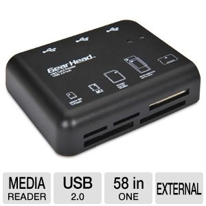 Gear Head 58-in-1 Card Reader & 3 Port USB 2.0 Hub