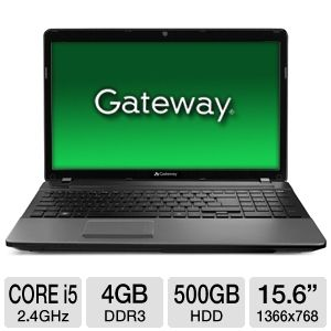 Gateway NV57H48u LX.WYY02.030 15.6 inch 4GB LED Notebook Computer with 2.4Ghz Intel Core i5-2430M Processor, 500GB HDD, Webcam, HDMI