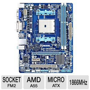 Gigabyte GA-F2A55M-DS2 AMD A55 Motherboard