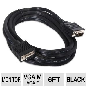 PowerUp! 6ft VGA Monitor M/F Adapter Cable
