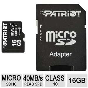 Patriot LX Pro Series 16GB MicroSDHC Flash Card