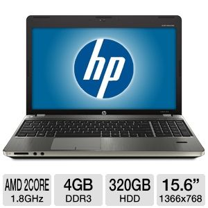 "HP 15.6"" AMD Dual-Core 320GB HDD Notebook"