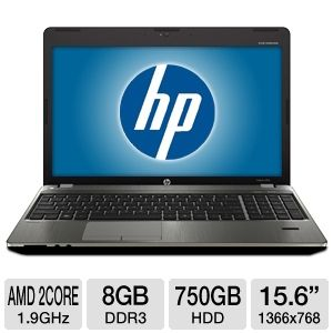 "HP Probook 15.6"" AMD 8GB 750GB Windows 7Pro Laptop"