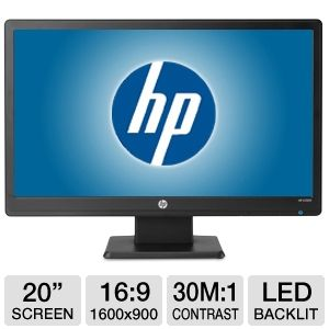 "HP 20"" Wide 1600x900 LED Monitor, VGA"