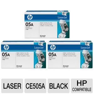 HP 05A CE505A Black Toner 3 Pack Bundle