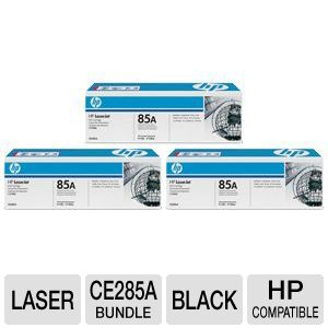 HP LaserJet 85A CE285A Black Toner 3-Pack Bundle
