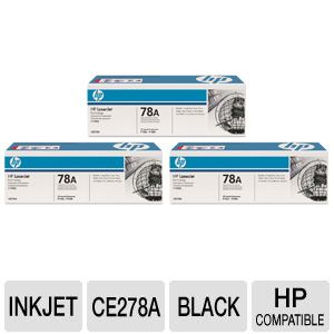 HP 78A CE278A Black Toner 3 Pack Combo Bundle
