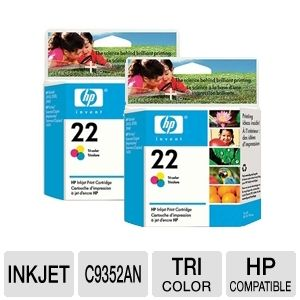 HP 22 Tri-Color Inkjet Print Cartridge (2-Pack)