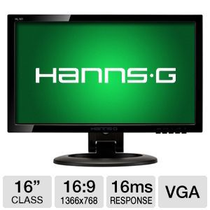 "HannsG 16"" Wide 1366x768 LED Monitor, VGA"