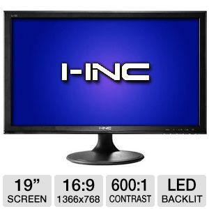 "I-INC 19"" Wide 1366x768 LED Monitor, VGA"