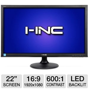 "I-Inc 22"" Wide 1080p LED Monitor, VGA, DVI"