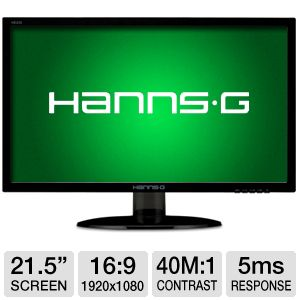 "HannsG 21.5"" Wide 1080p LED Monitor, VGA, DVI"