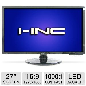 "I-Inc 27"" Wide 1080p LED, Speakers, VGA, DVI"