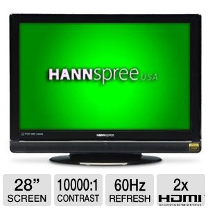 Hannspree ST289MUB 28 Class LCD HDTV - 1080p, 1920x1200, 16:10, 800:1 Native, 10000:1 Dynamic, 5ms, 60Hz, 2 HDMI, Black
