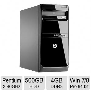 HP 4GB DDR3 Memory, 500GB HDD, Windows 7/8 Pro 64-bit Desktop