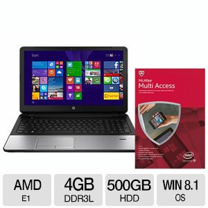 "HP 355 G2 AMD Dual-Core 15.6"" Notebook PC and McAfee 2015 Multi Access 1 User 5 Devices - MMD15E Bundle"