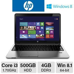 "HP ProBook 450 Core i3, 4GB DDR3, 500GB HDD,  15.6"" Laptop"