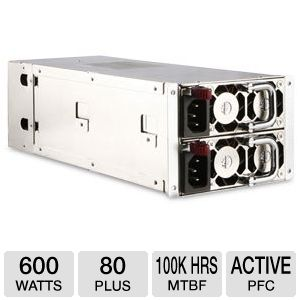 iStarUSA 600W 80 Plus 2U Redundant Power Supply