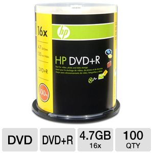 HP 100 Pack 16X DVD+R Spindle