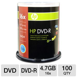 HP 04016 100 Pack 16X DVD-R Spindle