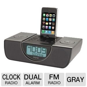 iHome iP42GVC Dual Alarm FM Clock Radio (Gray)