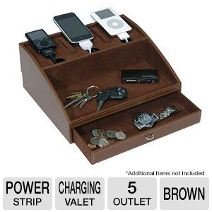 Interion Brown Charging Valet with Power Strip