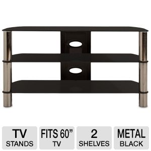 Cravin TDLEB501B 50in wide Metal Glass TV Stand