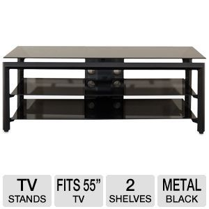 "Cravin TDLBH52 55"" Black Metal Glass TV Stand"