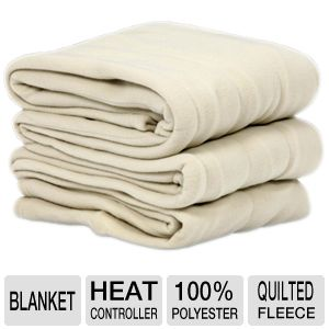 Sunbeam 160 GSM Quilted Fleece Heated Blanket
