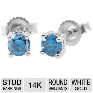 1Ct T.W. Blue Diamond Stud Earrings