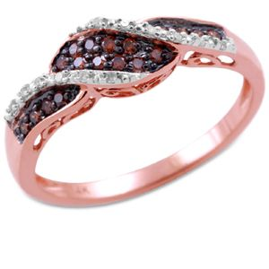 1/5 CT Brown & White Diamond Ring 14KT Pink Gold